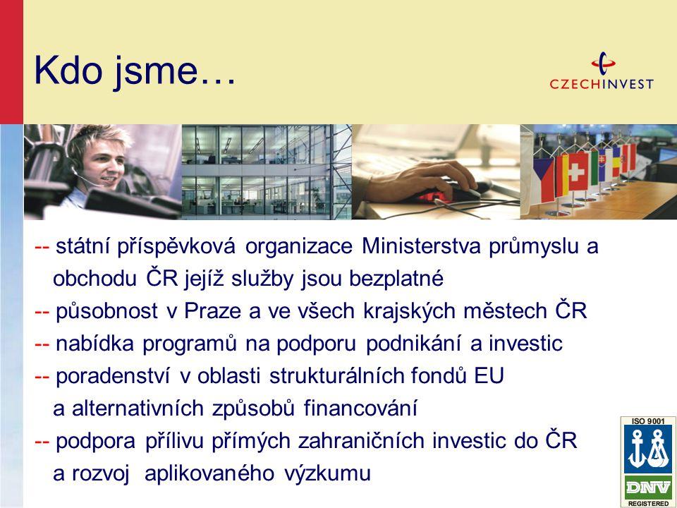 Kdo jsme… -- státní příspěvková organizace Ministerstva průmyslu a obchodu ČR jejíž služby jsou bezplatné -- působnost v Praze a ve všech krajských městech ČR -- nabídka programů na podporu podnikání a investic -- poradenství v oblasti strukturálních fondů EU a alternativních způsobů financování -- podpora přílivu přímých zahraničních investic do ČR a rozvoj aplikovaného výzkumu