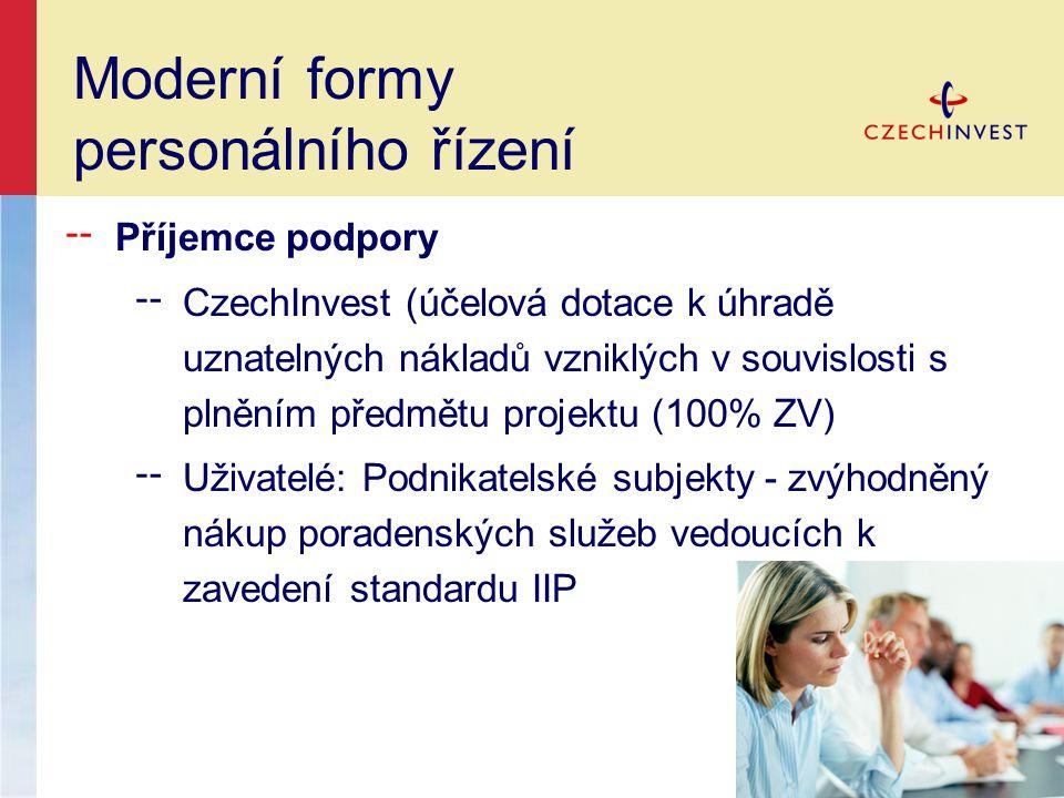 ╌ Příjemce podpory ╌ CzechInvest (účelová dotace k úhradě uznatelných nákladů vzniklých v souvislosti s plněním předmětu projektu (100% ZV) ╌ Uživatelé: Podnikatelské subjekty - zvýhodněný nákup poradenských služeb vedoucích k zavedení standardu IIP Moderní formy personálního řízení
