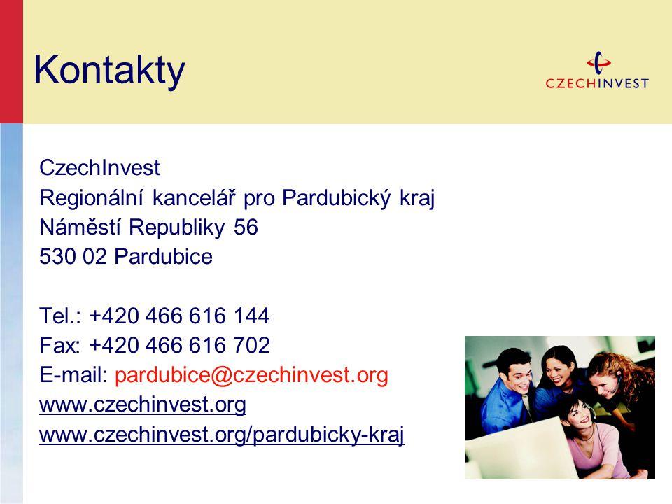 Kontakty CzechInvest Regionální kancelář pro Pardubický kraj Náměstí Republiky 56 530 02 Pardubice Tel.: +420 466 616 144 Fax: +420 466 616 702 E-mail: pardubice@czechinvest.org www.czechinvest.org www.czechinvest.org/pardubicky-kraj