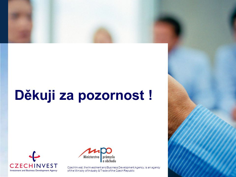 CzechInvest, the Investment and Business Development Agency, is an agency of the Ministry of Industry & Trade of the Czech Republic Děkuji za pozornos