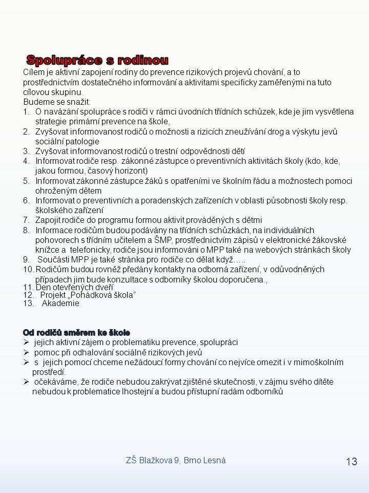 ZŠ Blažkova 9, Brno Lesná 13