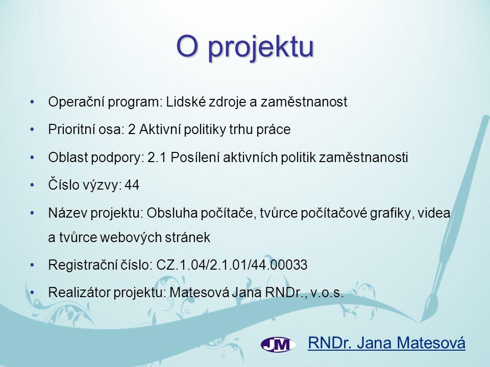 O projektu •Operační program: Lidské zdroje a zaměstnanost •Prioritní osa: 2 Aktivní politiky trhu práce •Oblast podpory: 2.1 Posílení aktivních polit