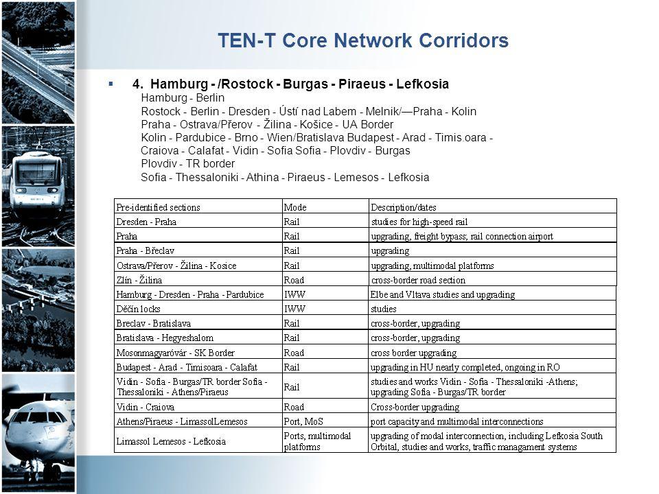 TEN-T Core Network Corridors  4. Hamburg - /Rostock - Burgas - Piraeus - Lefkosia Hamburg - Berlin Rostock - Berlin - Dresden - Ústí nad Labem - Meln