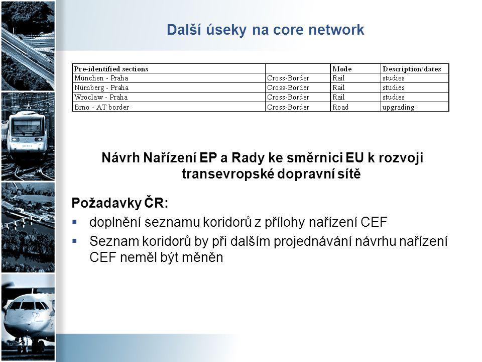 Další úseky na core network Návrh Nařízení EP a Rady ke směrnici EU k rozvoji transevropské dopravní sítě Požadavky ČR:  doplnění seznamu koridorů z
