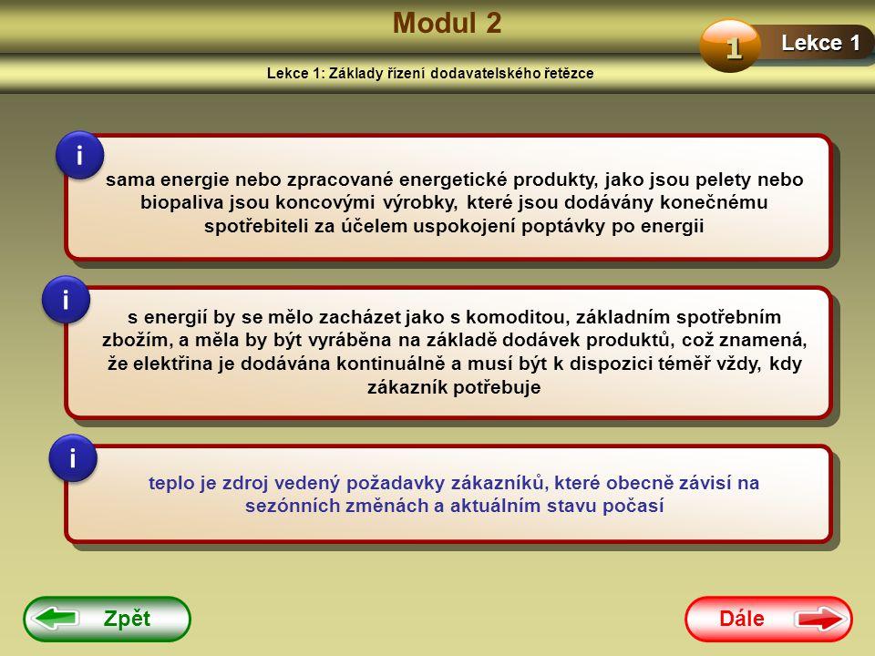 Dále Zpět Modul 2 Lekce 1: Základy řízení dodavatelského řetězce Lekce 1 1 sama energie nebo zpracované energetické produkty, jako jsou pelety nebo biopaliva jsou koncovými výrobky, které jsou dodávány konečnému spotřebiteli za účelem uspokojení poptávky po energii s energií by se mělo zacházet jako s komoditou, základním spotřebním zbožím, a měla by být vyráběna na základě dodávek produktů, což znamená, že elektřina je dodávána kontinuálně a musí být k dispozici téměř vždy, kdy zákazník potřebuje teplo je zdroj vedený požadavky zákazníků, které obecně závisí na sezónních změnách a aktuálním stavu počasí i i i i i i