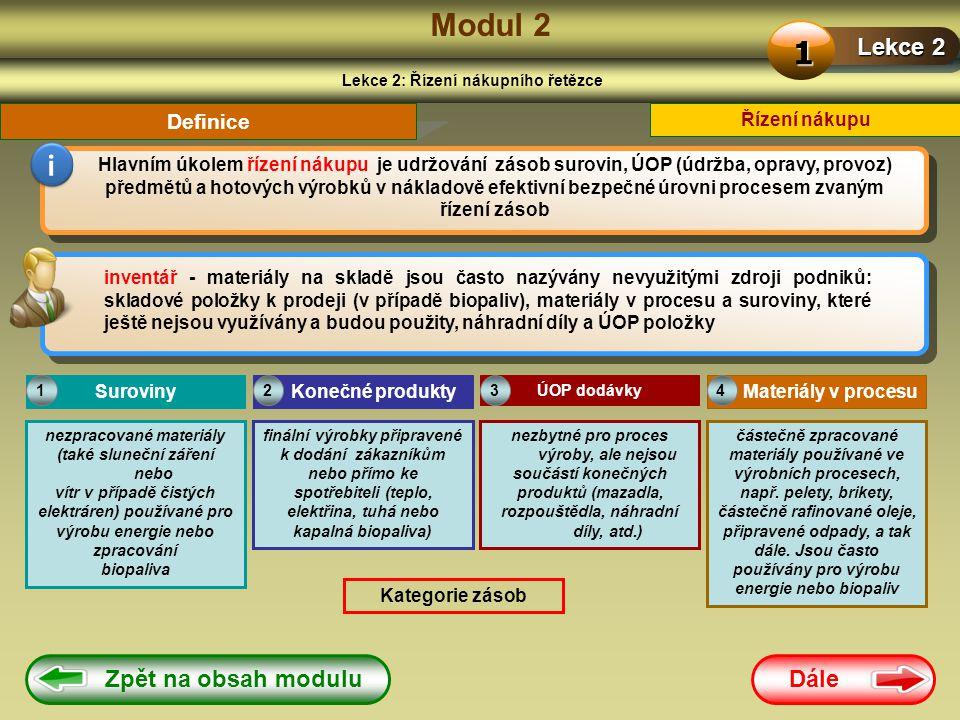 Dále Zpět na obsah modulu Modul 2 Lekce 2: Řízení nákupního řetězce Lekce 2 1 i Hlavním úkolem řízení nákupu je udržování zásob surovin, ÚOP (údržba, opravy, provoz) předmětů a hotových výrobků v nákladově efektivní bezpečné úrovni procesem zvaným řízení zásob Řízení nákupu inventář - materiály na skladě jsou často nazývány nevyužitými zdroji podniků: skladové položky k prodeji (v případě biopaliv), materiály v procesu a suroviny, které ještě nejsou využívány a budou použity, náhradní díly a ÚOP položky Definice Suroviny nezpracované materiály (také sluneční záření nebo vítr v případě čistých elektráren) používané pro výrobu energie nebo zpracování biopaliva Konečné produkty finální výrobky připravené k dodání zákazníkům nebo přímo ke spotřebiteli (teplo, elektřina, tuhá nebo kapalná biopaliva) ÚOP dodávky nezbytné pro proces výroby, ale nejsou součástí konečných produktů (mazadla, rozpouštědla, náhradní díly, atd.) 123 Materiály v procesu částečně zpracované materiály používané ve výrobních procesech, např.