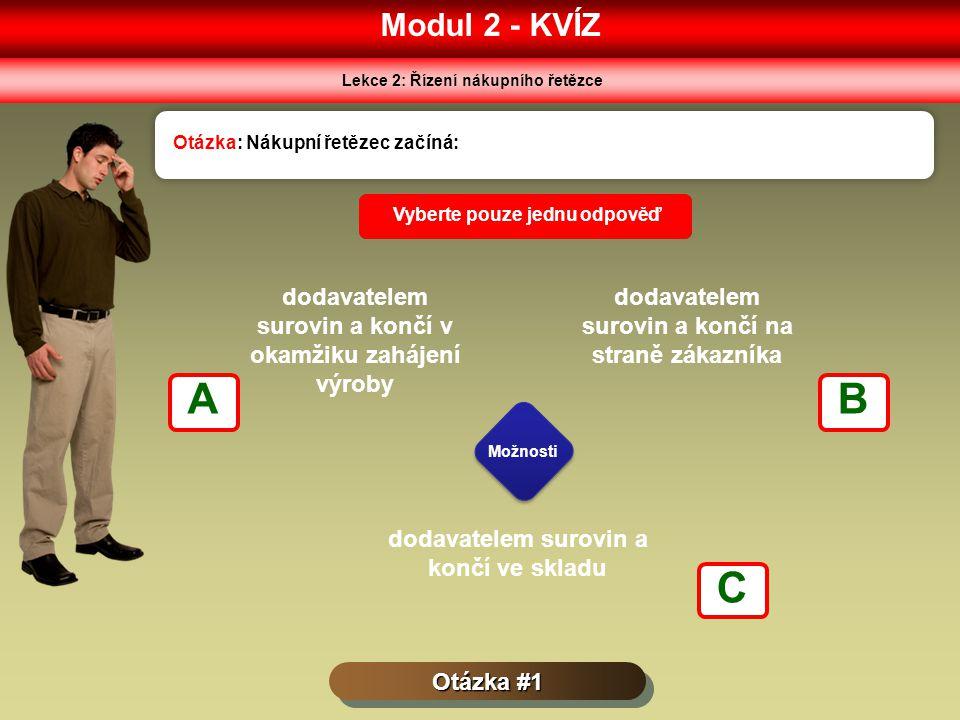 Modul 2 - KVÍZ Lekce 2: Řízení nákupního řetězce Otázka #1 Otázka: Nákupní řetězec začíná: Možnosti Vyberte pouze jednu odpověď dodavatelem surovin a končí v okamžiku zahájení výroby dodavatelem surovin a končí na straně zákazníka dodavatelem surovin a končí ve skladu AB C