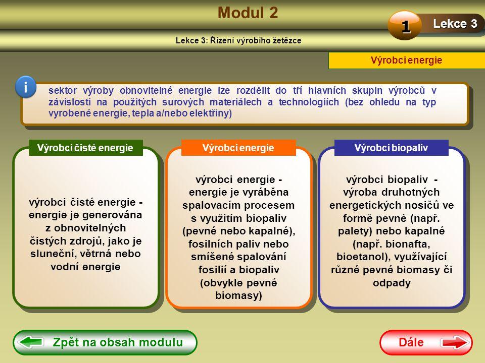 Dále Modul 2 Lekce 3: Řízení výrobího žetězce Lekce 3 1 Výrobci energie sektor výroby obnovitelné energie lze rozdělit do tří hlavních skupin výrobců v závislosti na použitých surových materiálech a technologiích (bez ohledu na typ vyrobené energie, tepla a/nebo elektřiny) i Výrobci čisté energieVýrobci energieVýrobci biopaliv výrobci čisté energie - energie je generována z obnovitelných čistých zdrojů, jako je sluneční, větrná nebo vodní energie výrobci energie - energie je vyráběna spalovacím procesem s využitím biopaliv (pevné nebo kapalné), fosilních paliv nebo smíšené spalování fosilií a biopaliv (obvykle pevné biomasy) výrobci biopaliv - výroba druhotných energetických nosičů ve formě pevné (např.