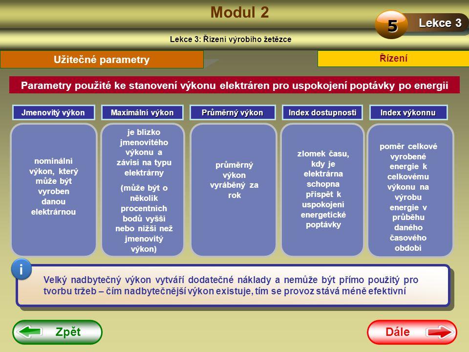 Dále Zpět Modul 2 Lekce 3: Řízení výrobího žetězce Lekce 3 5 Řízení Parametry použité ke stanovení výkonu elektráren pro uspokojení poptávky po energi