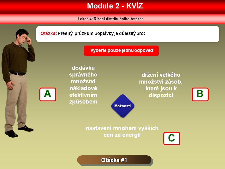 Module 2 - KVÍZ Lekce 4: Řízení distribučního řetězce Otázka #1 Otázka: Přesný průzkum poptávky je důležitý pro: Možnosti Vyberte pouze jednu odpověď dodávku správného množství nákladově efektivním způsobem držení velkého množství zásob, které jsou k dispozici nastavení mnohem vyšších cen za energii AB C