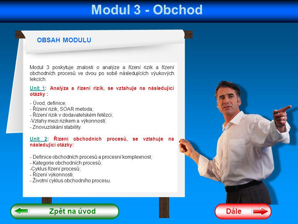 Modul 3 - Obchod Dále OBSAH MODULU Modul 3 poskytuje znalosti o analýze a řízení rizik a řízení obchodních procesů ve dvou po sobě následujících výukových lekcích.