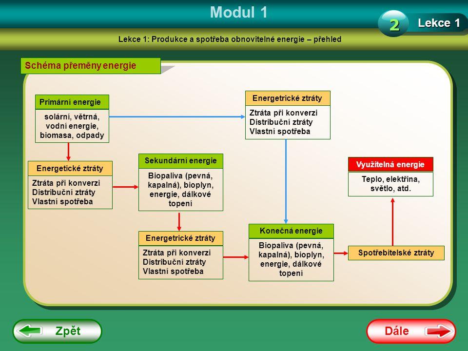 Dále Zpět Modul 1 Lekce 1: Produkce a spotřeba obnovitelné energie – přehled Lekce 1 2 Schéma přeměny energie Primární energie solární, větrná, vodní energie, biomasa, odpady Energetrické ztráty Ztráta při konverzi Distribuční ztráty Vlastní spotřeba Energetické ztráty Ztráta při konverzi Distribuční ztráty Vlastní spotřeba Sekundární energie Biopaliva (pevná, kapalná), bioplyn, energie, dálkové topení Energetrické ztráty Ztráta při konverzi Distribuční ztráty Vlastní spotřeba Konečná energie Biopaliva (pevná, kapalná), bioplyn, energie, dálkové topení Spotřebitelské ztráty Využitelná energie Teplo, elektřina, světlo, atd.