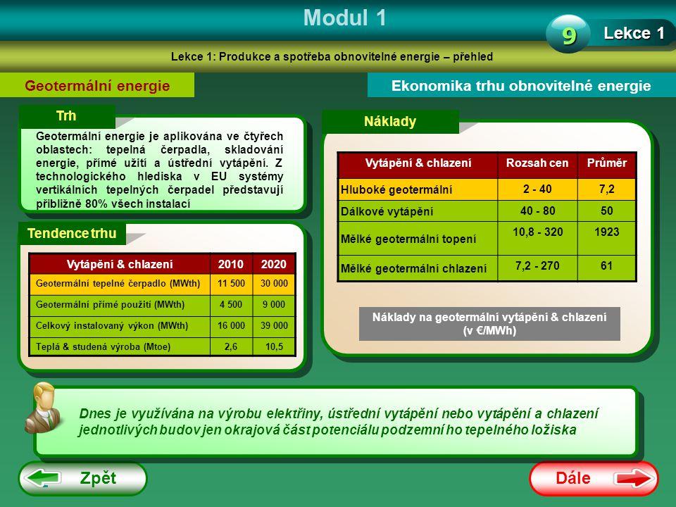 Dále Zpět Modul 1 Lekce 1: Produkce a spotřeba obnovitelné energie – přehled Lekce 1 9 Geotermální energieEkonomika trhu obnovitelné energie Trh Geote