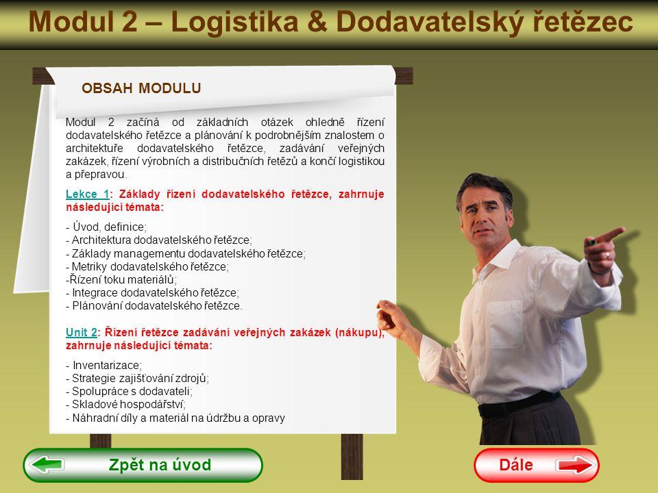 Modul 2 – Logistika & Dodavatelský řetězec Dále Zpět na úvod OBSAH MODULU Modul 2 začíná od základních otázek ohledně řízení dodavatelského řetězce a