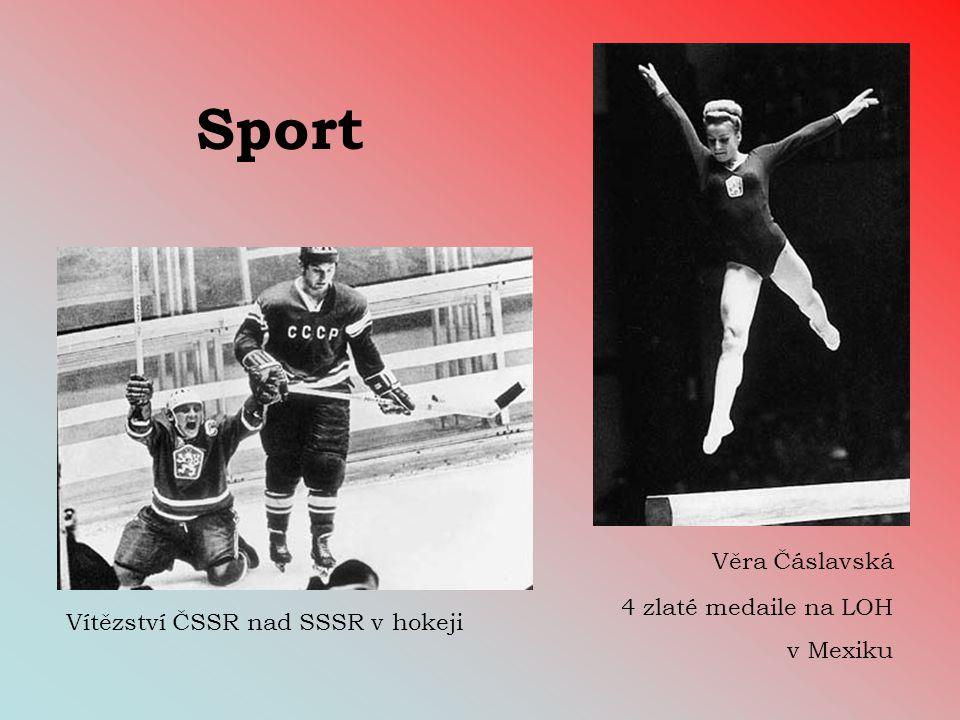 Sport Věra Čáslavská 4 zlaté medaile na LOH v Mexiku Vítězství ČSSR nad SSSR v hokeji