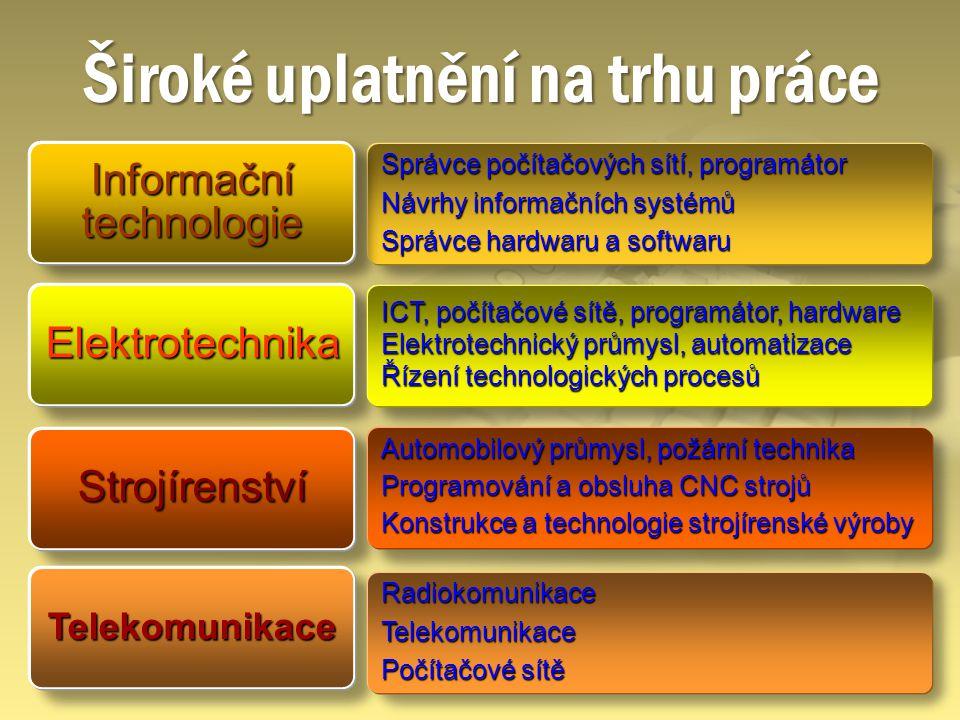 Elektrotechnika Širokéuplatnění na trhu práce Široké uplatnění na trhu práce ICT, počítačové sítě, programátor, hardware Elektrotechnický průmysl, aut