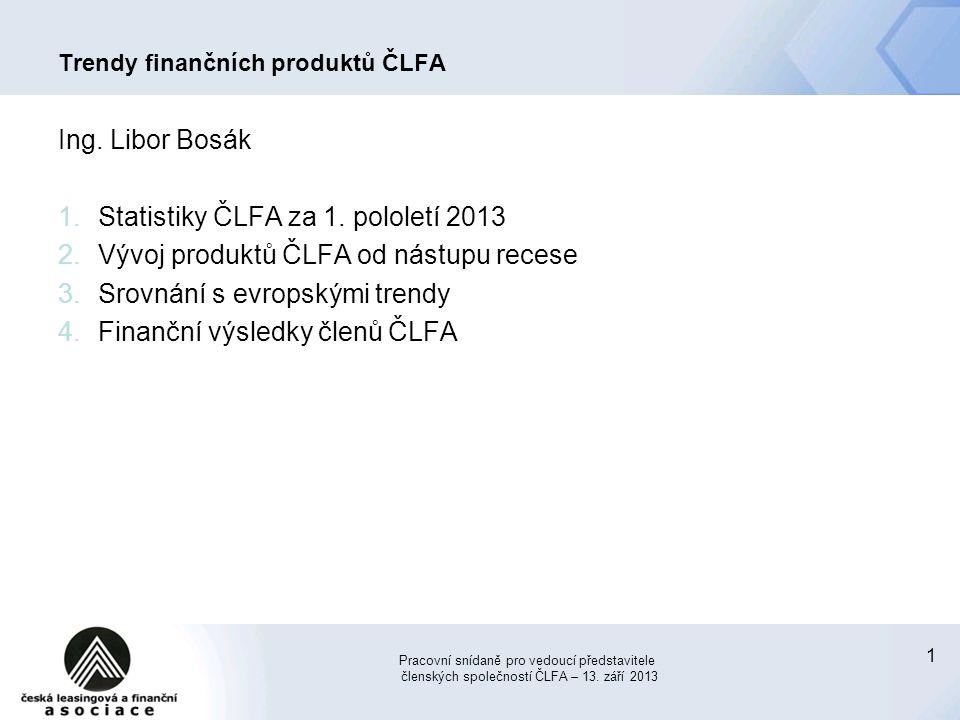 1 Trendy finančních produktů ČLFA Ing. Libor Bosák 1.Statistiky ČLFA za 1. pololetí 2013 2.Vývoj produktů ČLFA od nástupu recese 3.Srovnání s evropský