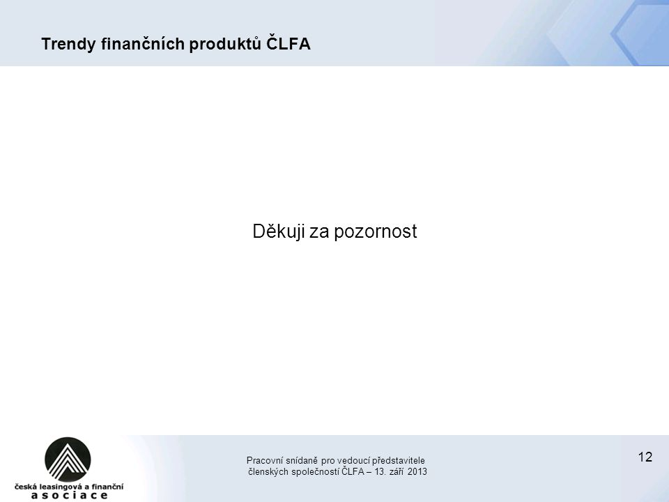 12 Trendy finančních produktů ČLFA Děkuji za pozornost Pracovní snídaně pro vedoucí představitele členských společností ČLFA – 13. září 2013