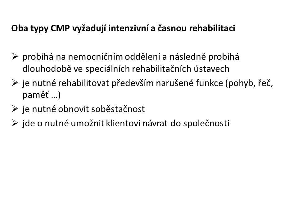 Oba typy CMP vyžadují intenzivní a časnou rehabilitaci  probíhá na nemocničním oddělení a následně probíhá dlouhodobě ve speciálních rehabilitačních