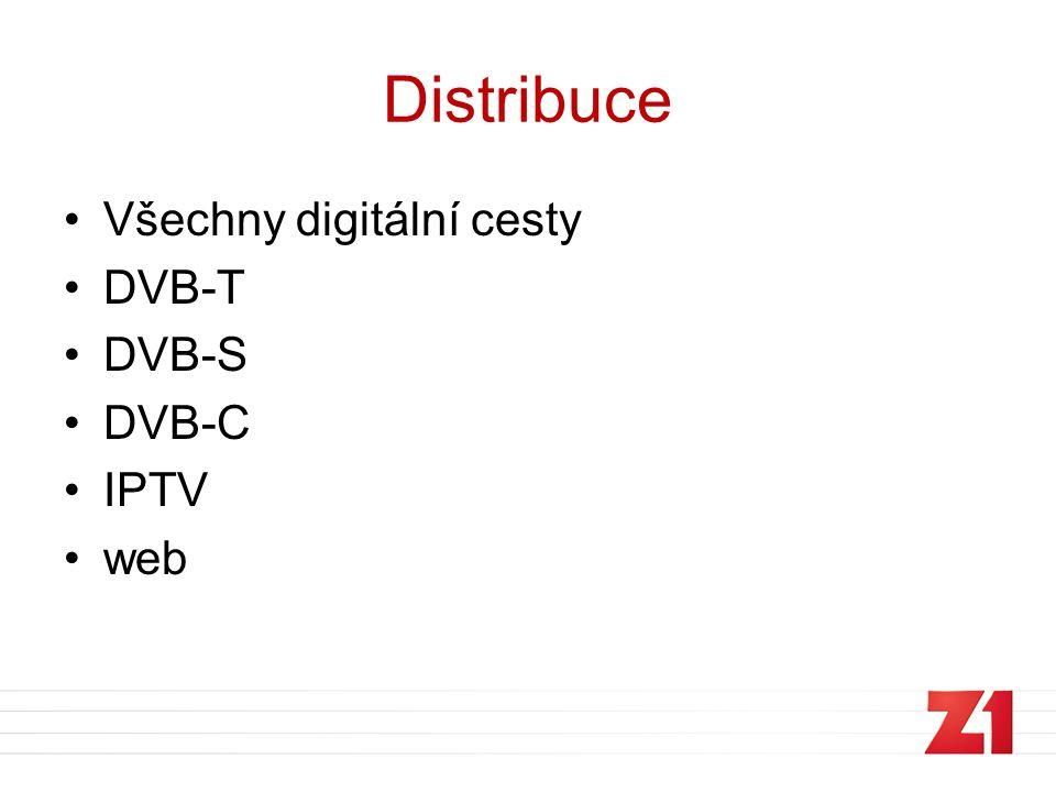 Distribuce •Všechny digitální cesty •DVB-T •DVB-S •DVB-C •IPTV •web