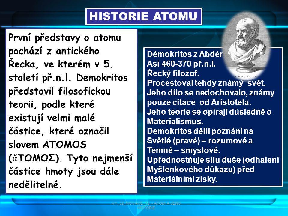 Poslední částice v atomu – neutrony, které se nachází v jádře atomu – objevil roku 1923 Brit James Chadwick VY_32_INOVACE_12 - ATOM A JEHO HISTORIE