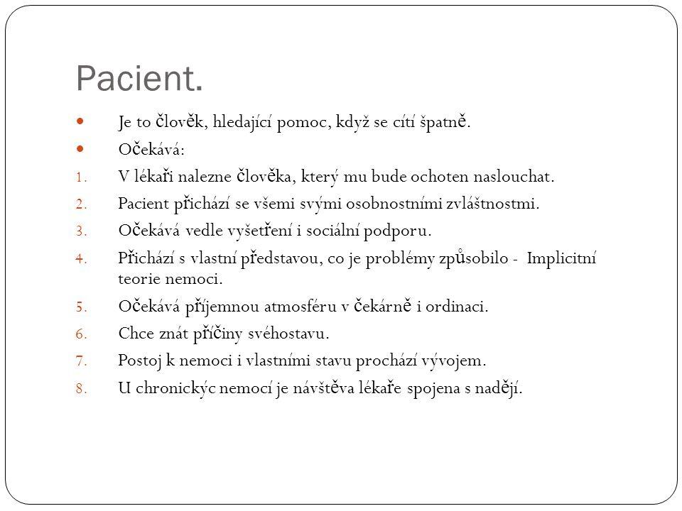 Pacient.  Je to č lov ě k, hledající pomoc, když se cítí špatn ě.  O č ekává: 1. V léka ř i nalezne č lov ě ka, který mu bude ochoten naslouchat. 2.