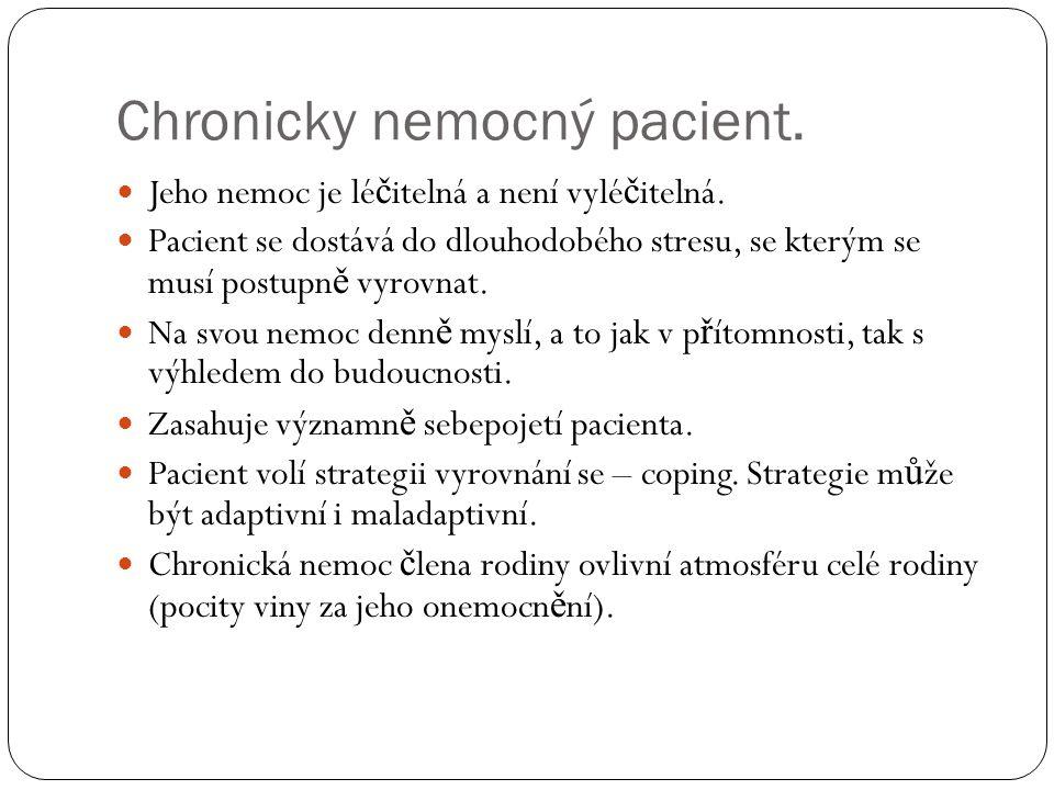 Chronicky nemocný pacient.  Jeho nemoc je lé č itelná a není vylé č itelná.  Pacient se dostává do dlouhodobého stresu, se kterým se musí postupn ě