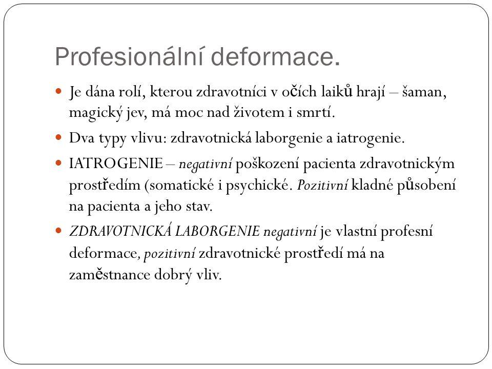 Syndrom vyhoření. Krajní projev iatropatogenie nebo laborpatogenie.