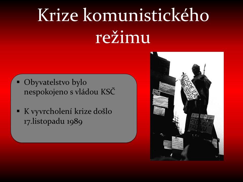 Krize komunistického režimu  Obyvatelstvo bylo nespokojeno s vládou KSČ  K vyvrcholení krize došlo 17.listopadu 1989  Obyvatelstvo bylo nespokojeno