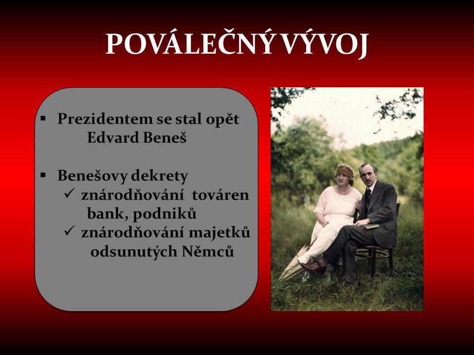 POVÁLEČNÝ VÝVOJ  Prezidentem se stal opět Edvard Beneš  Benešovy dekrety  znárodňování továren bank, podniků  znárodňování majetků odsunutých Němc