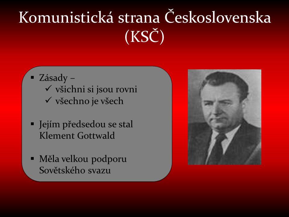 Komunistická strana Československa (KSČ)  Zásady –  všichni si jsou rovni  všechno je všech  Jejím předsedou se stal Klement Gottwald  Měla velko