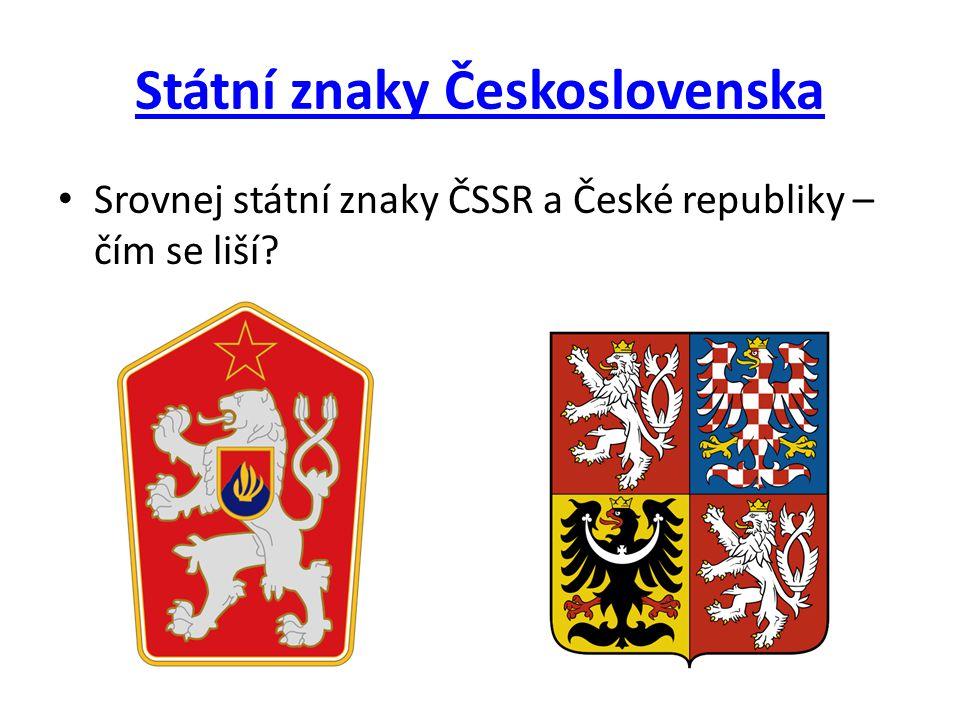 Státní znaky Československa • Srovnej státní znaky ČSSR a České republiky – čím se liší?