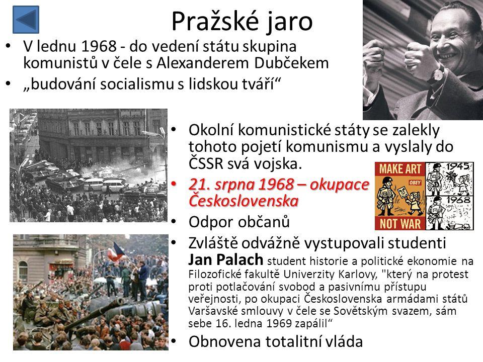 """Pražské jaro • V lednu 1968 - do vedení státu skupina komunistů v čele s Alexanderem Dubčekem • """"budování socialismu s lidskou tváří"""" • Okolní komunis"""