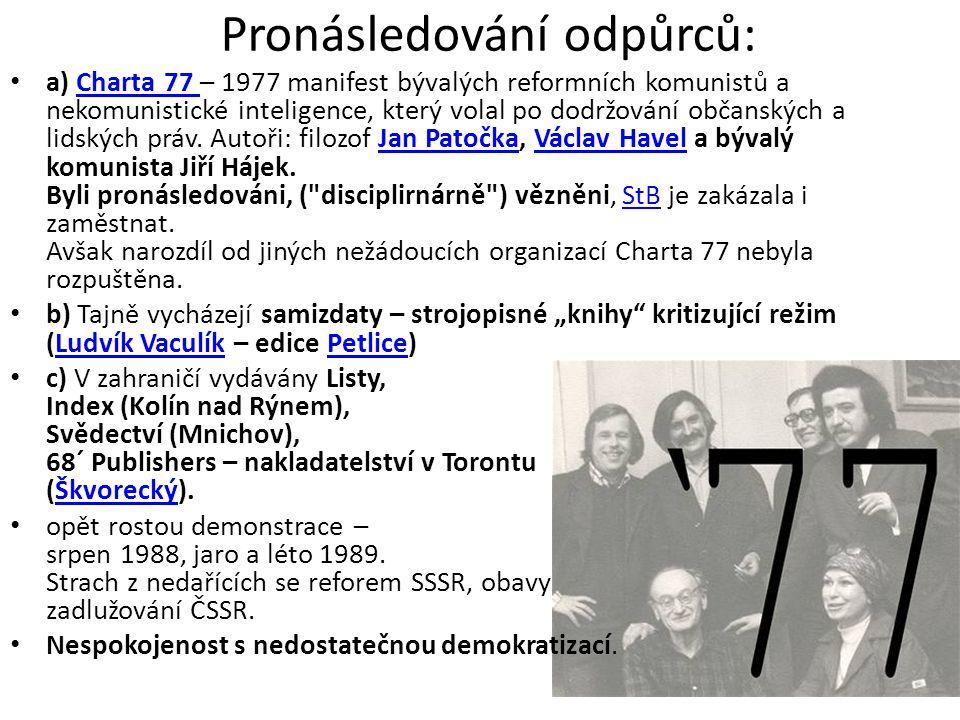Pronásledování odpůrců: • a) Charta 77 – 1977 manifest bývalých reformních komunistů a nekomunistické inteligence, který volal po dodržování občanskýc