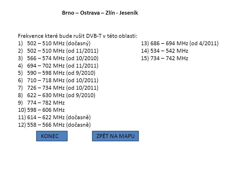 Brno – Ostrava – Zlín - Jeseník KONECZPĚT NA MAPU Frekvence které bude rušit DVB-T v této oblasti: 1)502 – 510 MHz (dočasný) 13) 686 – 694 MHz (od 4/2
