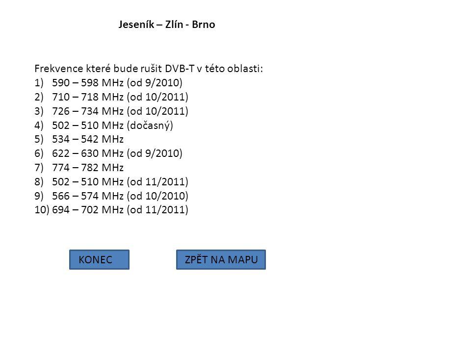 Jeseník – Zlín - Brno KONECZPĚT NA MAPU Frekvence které bude rušit DVB-T v této oblasti: 1)590 – 598 MHz (od 9/2010) 2)710 – 718 MHz (od 10/2011) 3)72