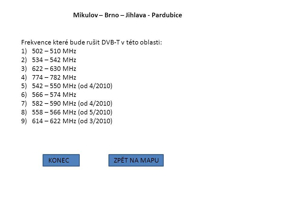 Mikulov – Brno – Jihlava - Pardubice KONECZPĚT NA MAPU Frekvence které bude rušit DVB-T v této oblasti: 1)502 – 510 MHz 2)534 – 542 MHz 3)622 – 630 MH