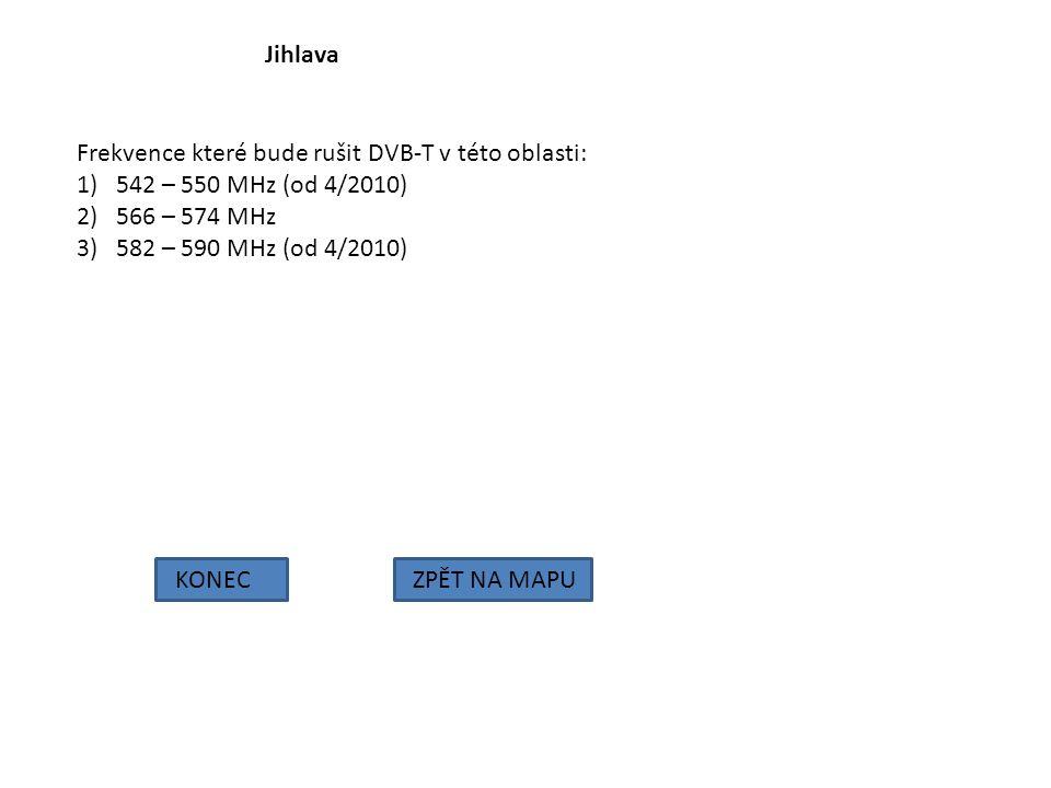 Jihlava KONECZPĚT NA MAPU Frekvence které bude rušit DVB-T v této oblasti: 1)542 – 550 MHz (od 4/2010) 2)566 – 574 MHz 3)582 – 590 MHz (od 4/2010)