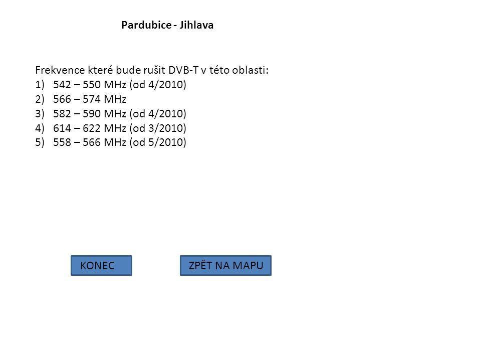 Pardubice - Jihlava KONECZPĚT NA MAPU Frekvence které bude rušit DVB-T v této oblasti: 1)542 – 550 MHz (od 4/2010) 2)566 – 574 MHz 3)582 – 590 MHz (od