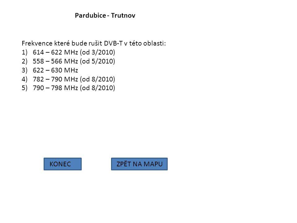 Pardubice - Trutnov KONECZPĚT NA MAPU Frekvence které bude rušit DVB-T v této oblasti: 1)614 – 622 MHz (od 3/2010) 2)558 – 566 MHz (od 5/2010) 3)622 –