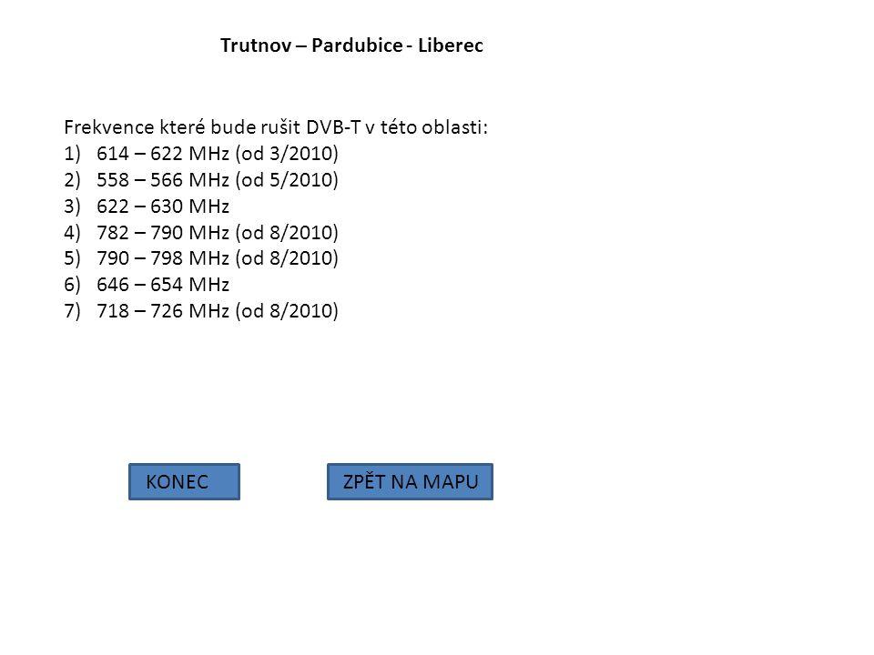 Trutnov – Pardubice - Liberec KONECZPĚT NA MAPU Frekvence které bude rušit DVB-T v této oblasti: 1)614 – 622 MHz (od 3/2010) 2)558 – 566 MHz (od 5/201