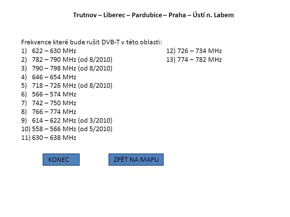 Trutnov – Liberec – Pardubice – Praha – Ústí n. Labem KONECZPĚT NA MAPU Frekvence které bude rušit DVB-T v této oblasti: 1)622 – 630 MHz12) 726 – 734