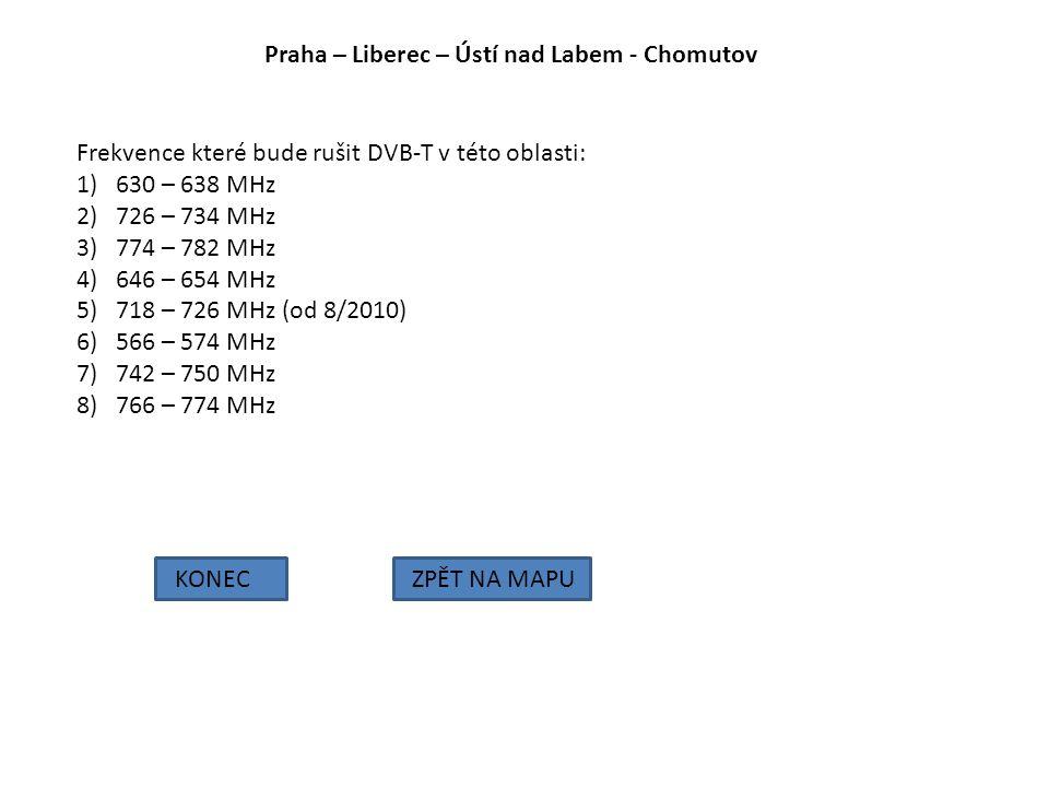 Praha – Liberec – Ústí nad Labem - Chomutov KONECZPĚT NA MAPU Frekvence které bude rušit DVB-T v této oblasti: 1)630 – 638 MHz 2)726 – 734 MHz 3)774 –
