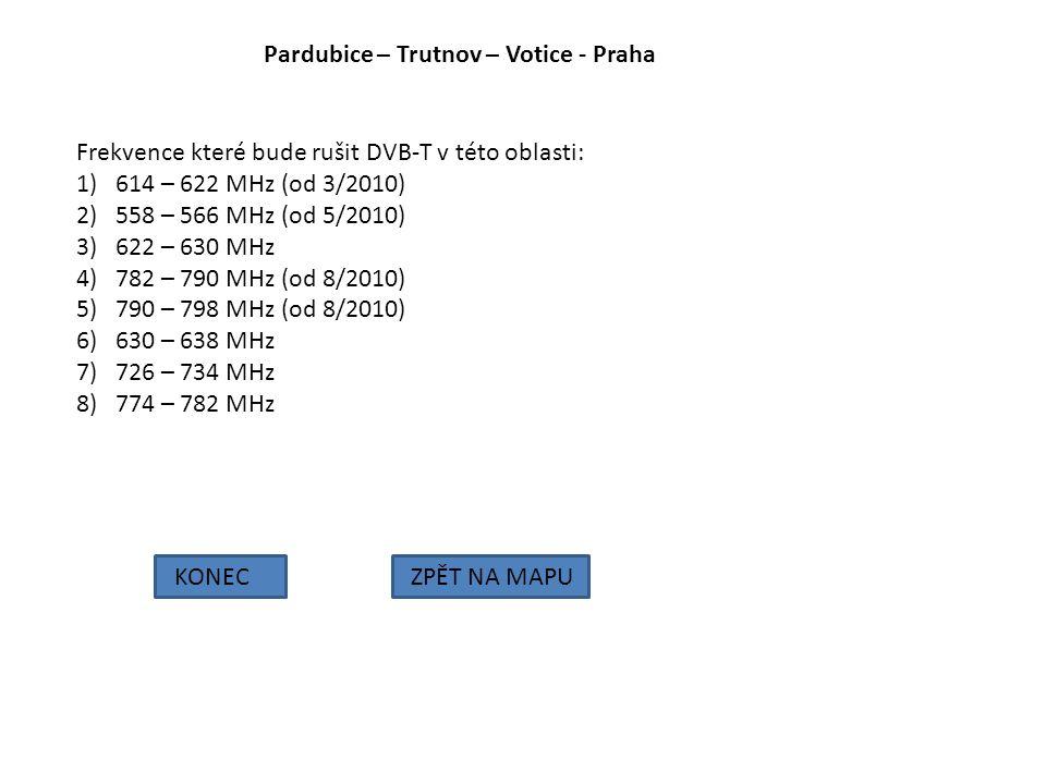 Pardubice – Trutnov – Votice - Praha KONECZPĚT NA MAPU Frekvence které bude rušit DVB-T v této oblasti: 1)614 – 622 MHz (od 3/2010) 2)558 – 566 MHz (o