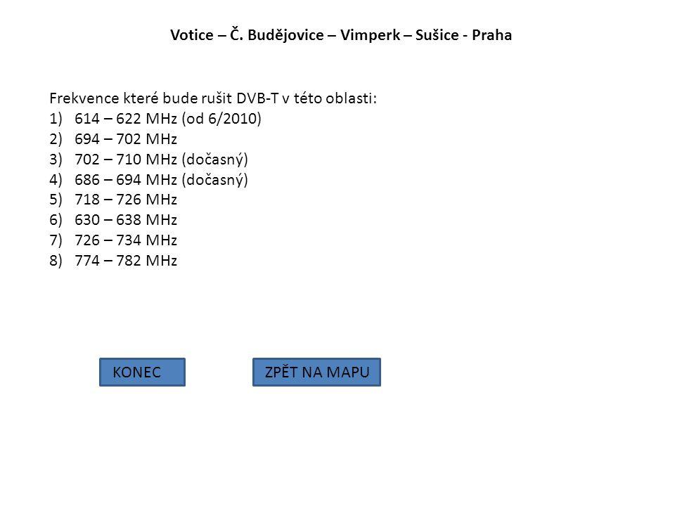 Votice – Č. Budějovice – Vimperk – Sušice - Praha KONECZPĚT NA MAPU Frekvence které bude rušit DVB-T v této oblasti: 1)614 – 622 MHz (od 6/2010) 2)694