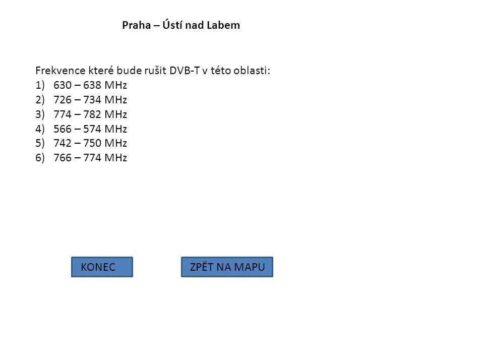 Praha – Ústí nad Labem KONECZPĚT NA MAPU Frekvence které bude rušit DVB-T v této oblasti: 1)630 – 638 MHz 2)726 – 734 MHz 3)774 – 782 MHz 4)566 – 574
