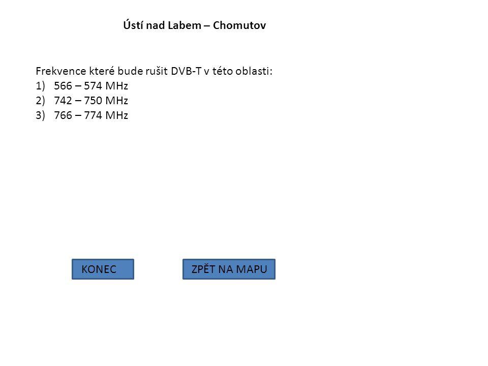 Ústí nad Labem – Chomutov KONECZPĚT NA MAPU Frekvence které bude rušit DVB-T v této oblasti: 1)566 – 574 MHz 2)742 – 750 MHz 3)766 – 774 MHz