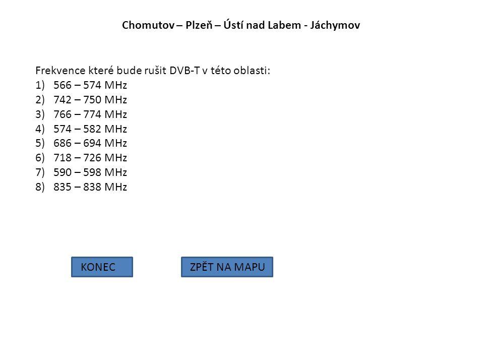 Chomutov – Plzeň – Ústí nad Labem - Jáchymov KONECZPĚT NA MAPU Frekvence které bude rušit DVB-T v této oblasti: 1)566 – 574 MHz 2)742 – 750 MHz 3)766