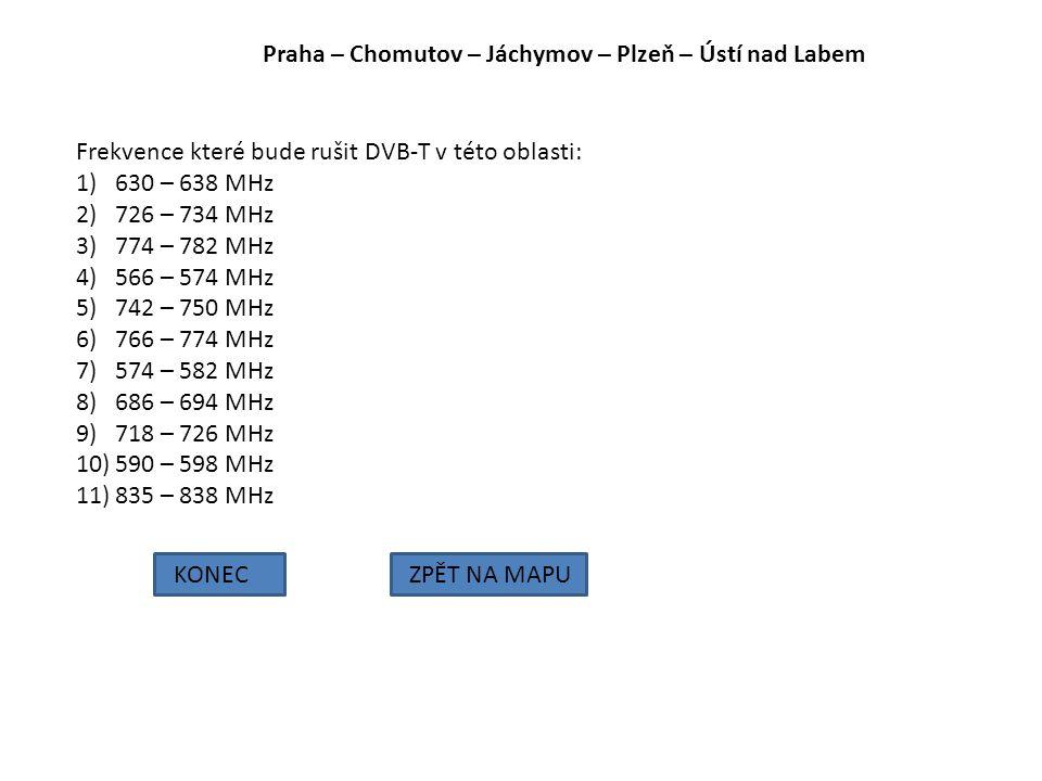 Praha – Chomutov – Jáchymov – Plzeň – Ústí nad Labem KONECZPĚT NA MAPU Frekvence které bude rušit DVB-T v této oblasti: 1)630 – 638 MHz 2)726 – 734 MH