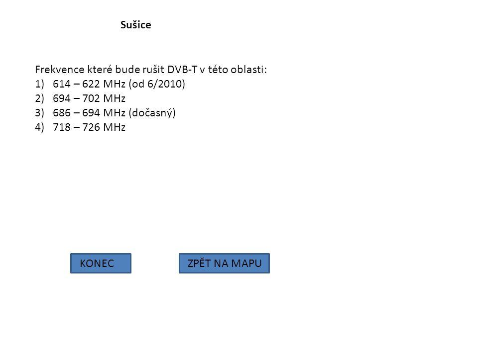 Sušice KONECZPĚT NA MAPU Frekvence které bude rušit DVB-T v této oblasti: 1)614 – 622 MHz (od 6/2010) 2)694 – 702 MHz 3)686 – 694 MHz (dočasný) 4)718